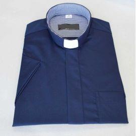Koszula kapłańska - granatowa w małą kratę