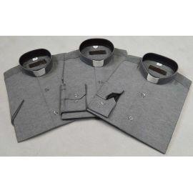 Koszula kapłańska - slim (taliowana), szara