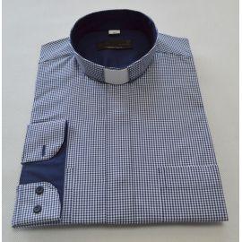 Koszula kapłańska slim - kratka granat