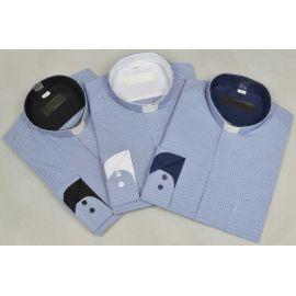 Koszula kapłańska - niebieska kratka