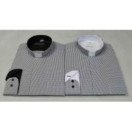 Koszula kapłańska - szara kratka