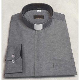Koszula kapłańska - szara, czarna wstawka