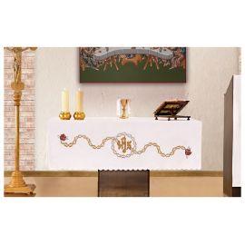 Obrus ołtarzowy - haftowany symbol IHS + ciernie