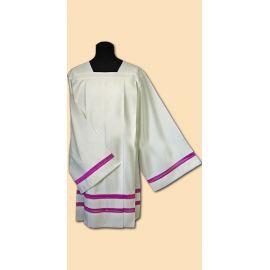 Komża kapłańska lniana - fioletowa wstawka