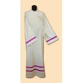 Alba kapłańska lniana - fioletowa wstawka