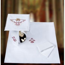 Bielizna kielichowa koronkowa Duch Święty -  czerwony haft