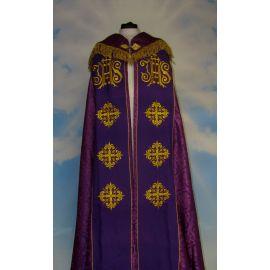 Kapa haftowana - IHS (kolory liturgiczne) - rozeta