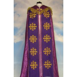 Kapa haftowana - Krzyż Jerozolimski fiolet - rozeta (3)