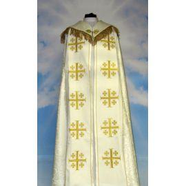 Kapa haftowana - Krzyż Jerozolimski ecru - rozeta (3)