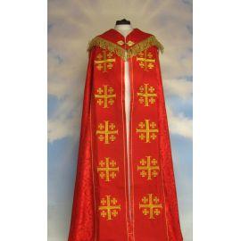 Kapa haftowana - Krzyż Jerozolimski czerwona - rozeta (3)