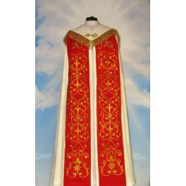 Kapa haftowana kremowo - czerwona - ornament (4)