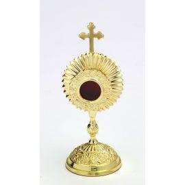 Relikwiarz kapsuła okrągła, mosiężny - 17 cm