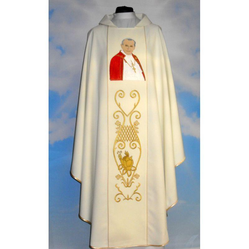 Ornat z wizerunkiem Jana Pawła II - materiał gładki