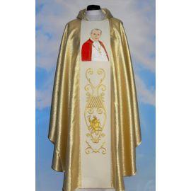 Ornat z wizerunkiem Jana Pawła II - materiał złoty
