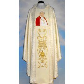 Ornat z wizerunkiem Jana Pawła II - materiał kremowa rozeta