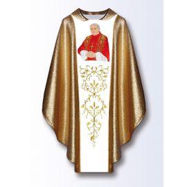 Ornat z wizerunkiem Jana Pawła II - materiał złoty (B)