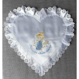 Szatka do chrztu - serce, niebieski haft
