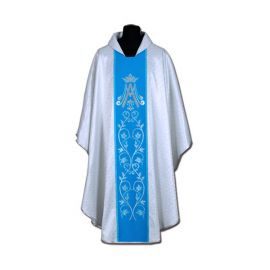 Ornat Maryjny niebieski + ornament srebrny (58A)