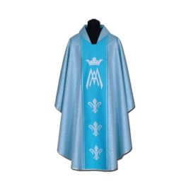 Ornat Maryjny niebieski + ornament srebrny (56A)
