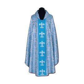 Ornat Maryjny niebieski + ornament srebrny (57A)
