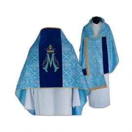 Welon liturgiczny Maryjny haftowany, pas aksamit (15)