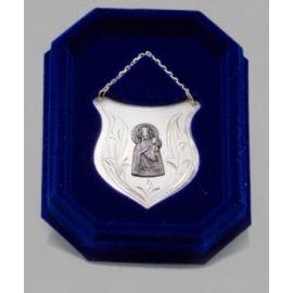 Ryngraf srebrny z wizerunkiem Matki Bożej Ostrobramskiej - 5 cm.