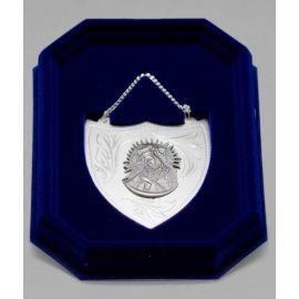 Ryngraf srebrny z wizerunkiem Matki Bożej Ostrobramskiej - 7 cm.