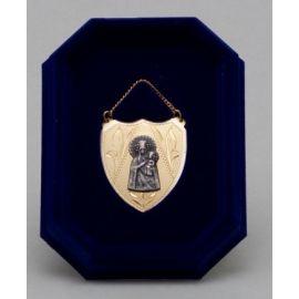 Ryngraf złocony z wizerunkiem Matki Bożej Częstochowskiej - 4 cm.