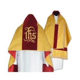 Welon liturgiczny aksamit - złoty IHS (31)