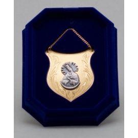 Ryngraf złocony z wizerunkiem Matki Bożej Częstochowskiej - 5 cm.