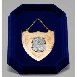 Ryngraf złocony z wizerunkiem Matki Bożej Ostrobramskiej - 7 cm.