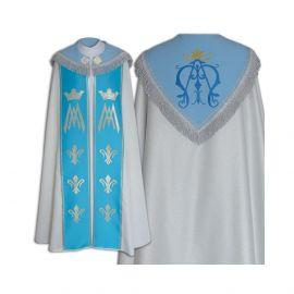 Kapa wzór Maryjny - niebieskie pasy, brokat (7)