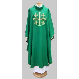 Ornat haftowany Krzyż Jerozolimski - zielony (22)