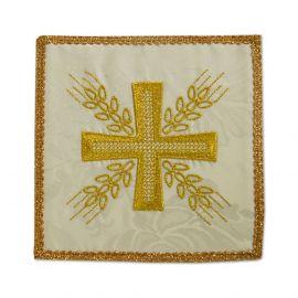 Palka haftowana ecru - Krzyż i kłosy