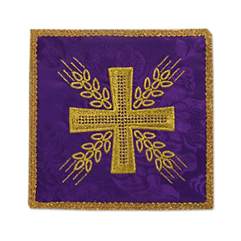 Palka haftowana fioletowa - Krzyż i kłosy