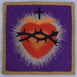 Palka haftowana fioletowa - Serce w koronie cierniowej