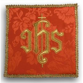 Palka haftowana czerwona - złoty IHS