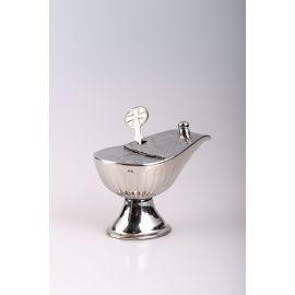 Łódka mosiężna + łyżeczka, kolor srebrny - 8 cm