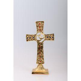 Krzyż stojący ślubny, mosiężny, pozłacany - 25 cm