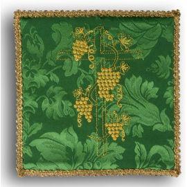 Palka haftowana zielona - Krzyż + winogrona