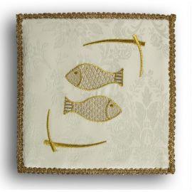 Palka haftowana ecru - Ryby