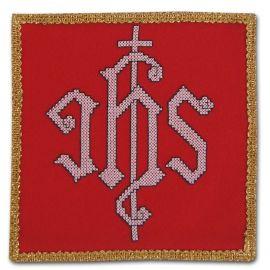 Palka haftowana czerwona - IHS biały
