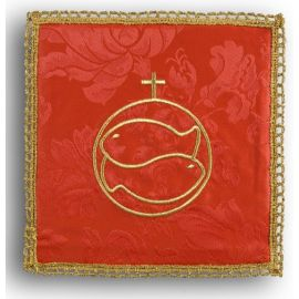 Palka haftowana czerwona - Ryby + krzyż