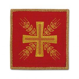 Palka haftowana czerwona - Krzyż i kłosy
