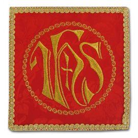 Palka haftowana czerwona - IHS w kole + krzyż