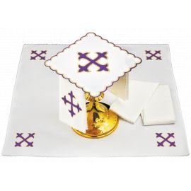Bielizna kielichowa fioletowy krzyż - haft