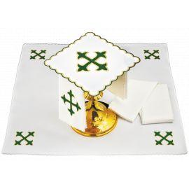 Bielizna kielichowa zielony krzyż - haft