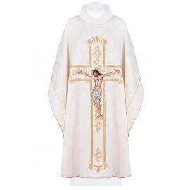 Ornat haftowany Jezus na krzyżu - ecru (190)
