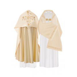 Welon liturgiczny aksamit - złoty IHS (33)