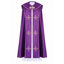 Kapa liturgiczna haftowana Krzyż - fioletowa (40)